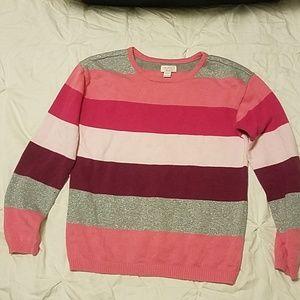 TCP Pink/Glitter Striped Sweater sz XL/14
